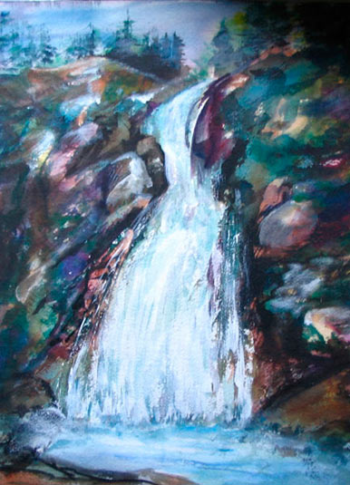 "Pat Barkman, ""Ellis Falls White Mountains, NH"", oil painting"