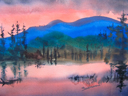 "Pat Barkman, ""Evening Comes to Mt. Washington, NH"", watercolor Painting"
