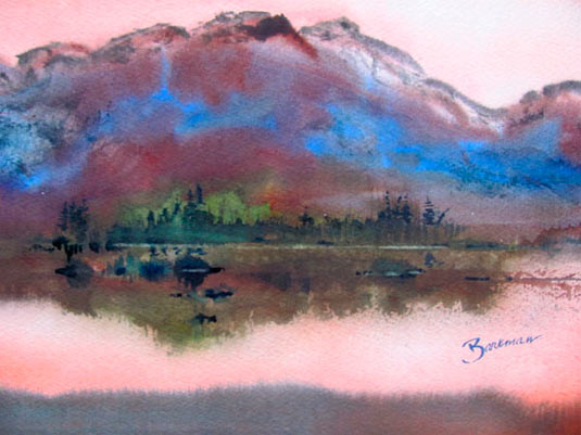 "Pat Barkman, ""Franconia Ridge Washed by Evening's Glow, White Mts.of NH"", watecolor painting"
