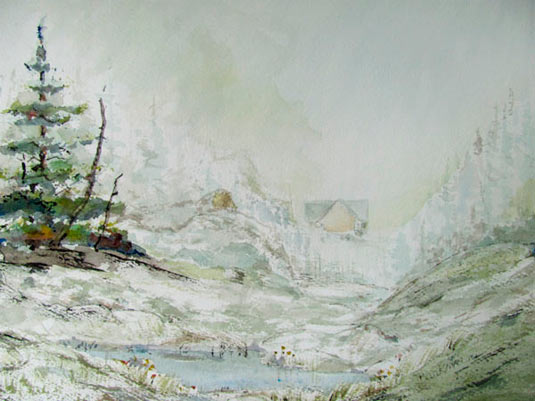 "Pat Barkman, ""Madison Springs Hut, White Mts., NH"", watercolor painting"