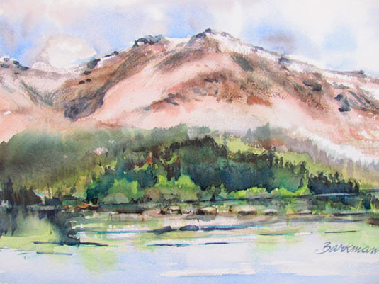 "Pat Barkman, ""Morning on Franconia Ridge from Green Leaf Hut"", watercolor painting"