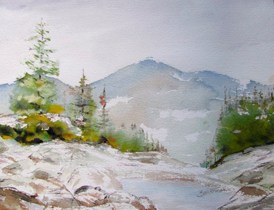 "Pat Barkman, ""Mount Madison 2011 from Lowe's Bald"", watercolor painting"