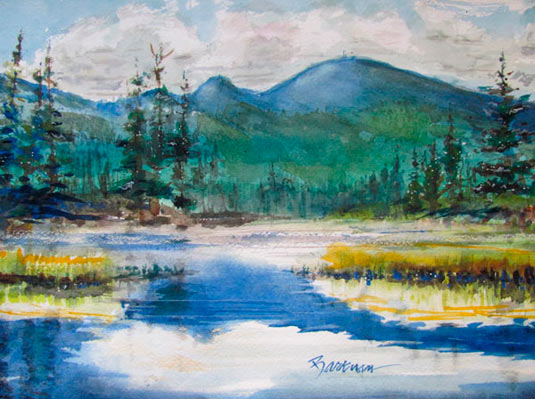 "Pat Barkman, ""Mt. Washington of the White Mts., NH"", watercolor painting"